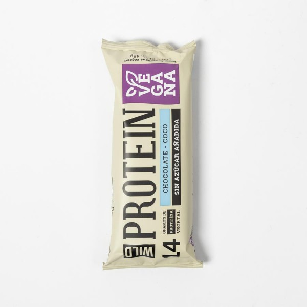 Barra de Proteina Vegana de Chocolate Coco .45 grs. Marca Wild Protein