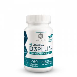 Vitamina D3 Vegana 60 cápsulas. Wellplus