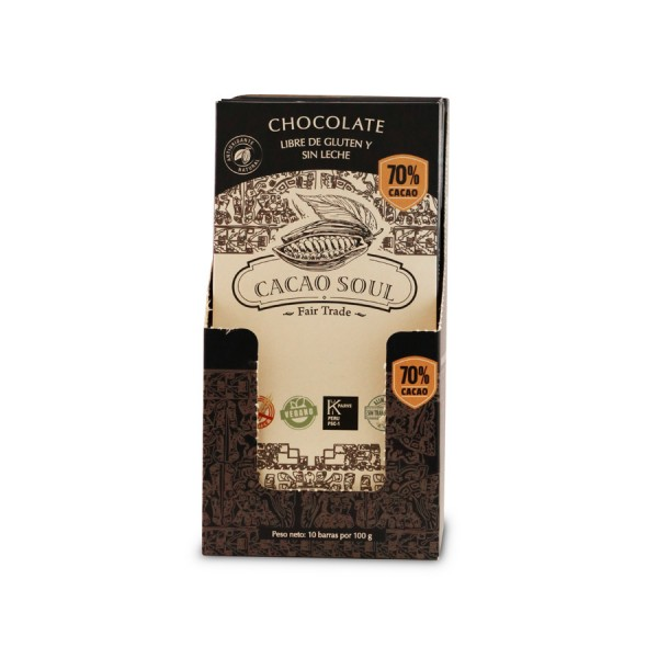 Chocolate libre de gluten y sin leche 70% Cacao