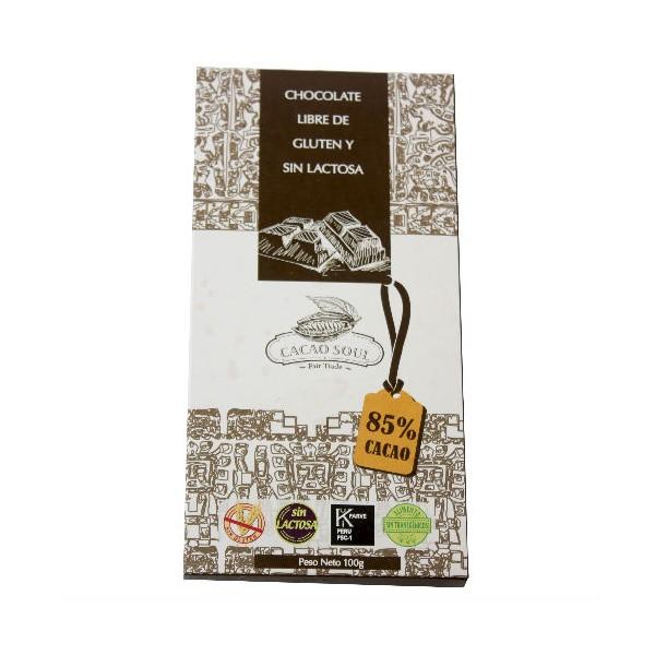 Chocolate libre de gluten y sin leche 85% Cacao